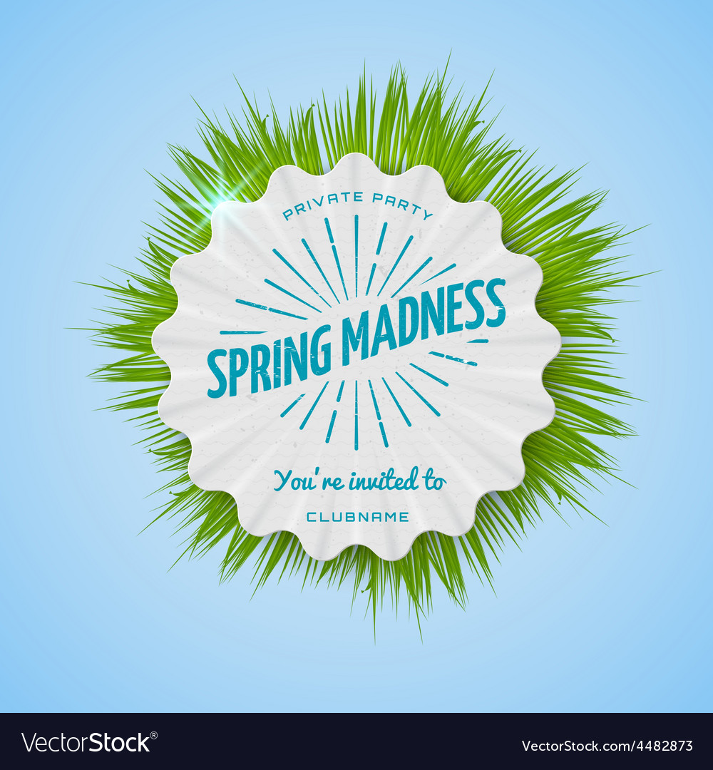 Festival spring madness realistic badge vector | Price: 1 Credit (USD $1)