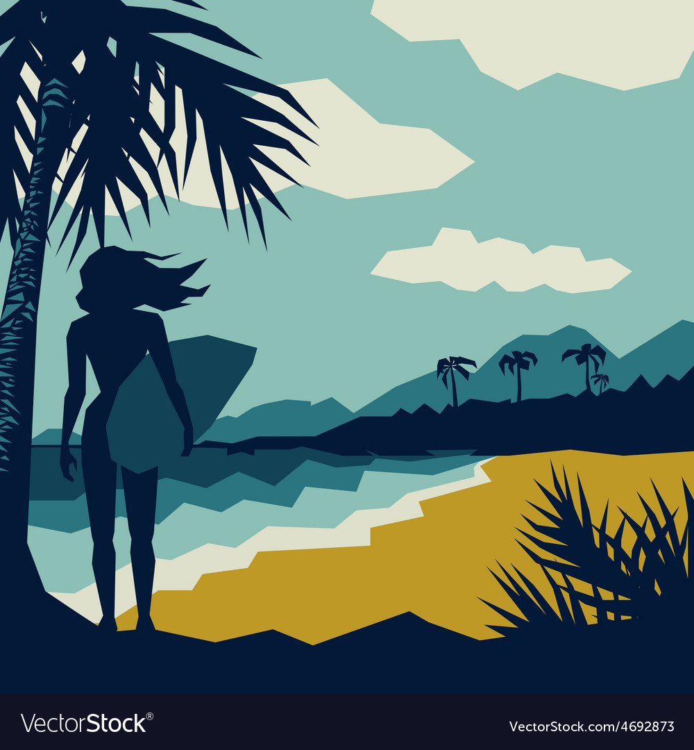 Girl with a surf vector | Price: 1 Credit (USD $1)