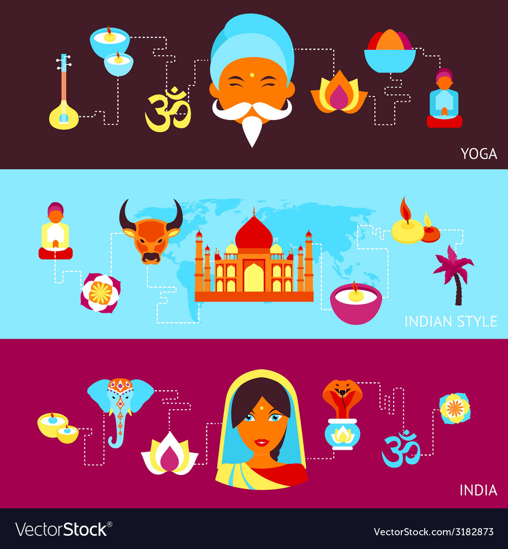 India banner set vector | Price: 1 Credit (USD $1)
