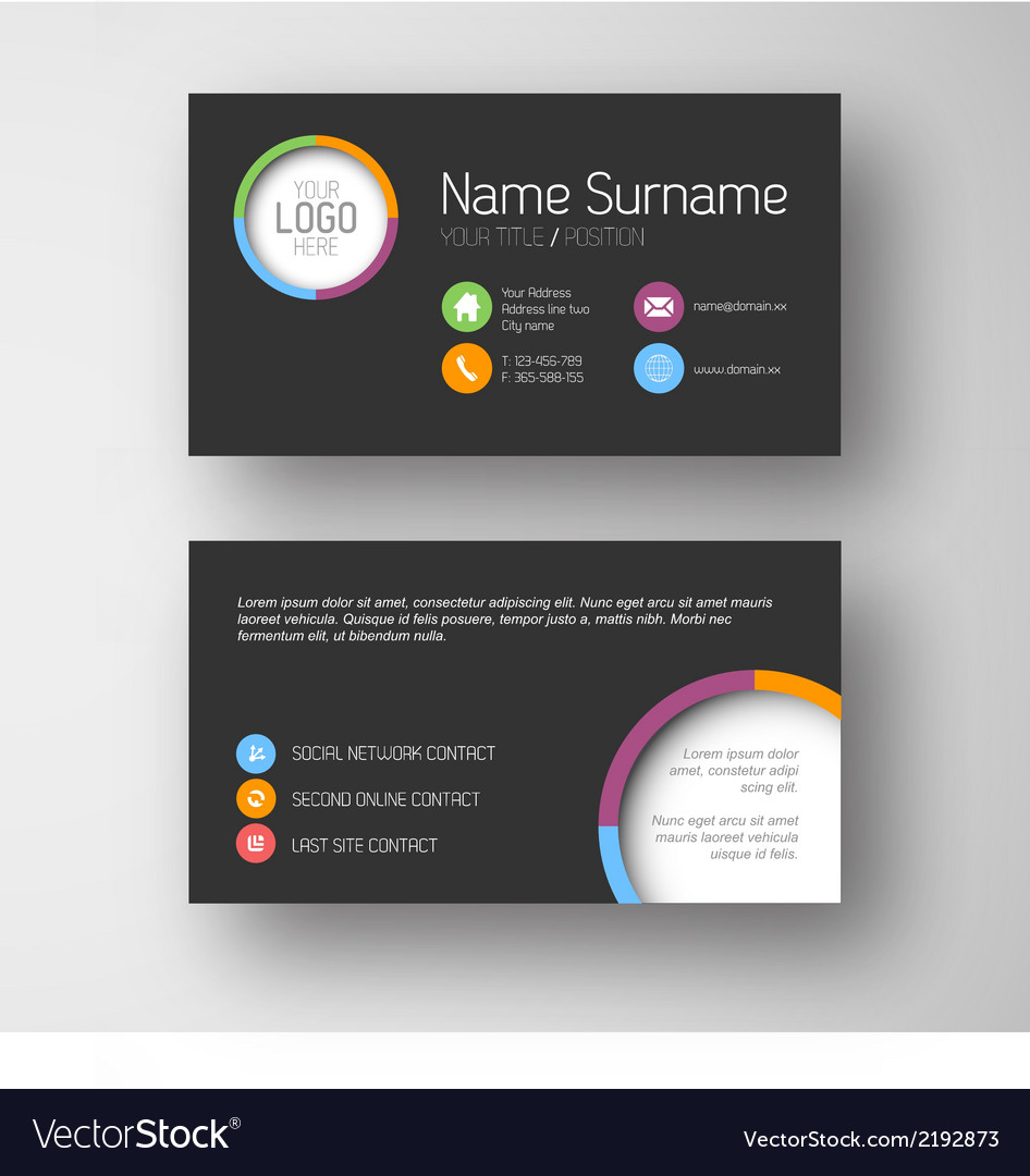 Modern dark business card template with flat user vector | Price: 1 Credit (USD $1)