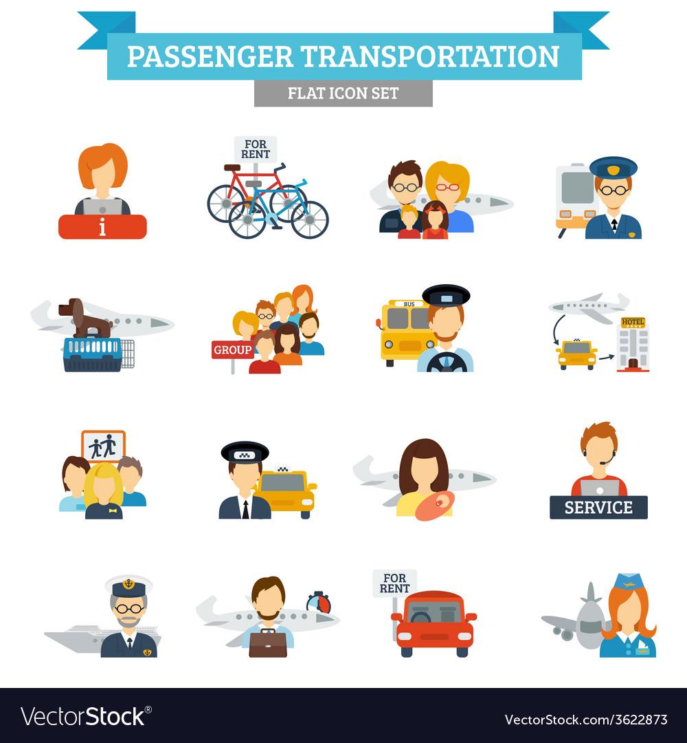 Passenger transportation icon flat vector | Price: 1 Credit (USD $1)