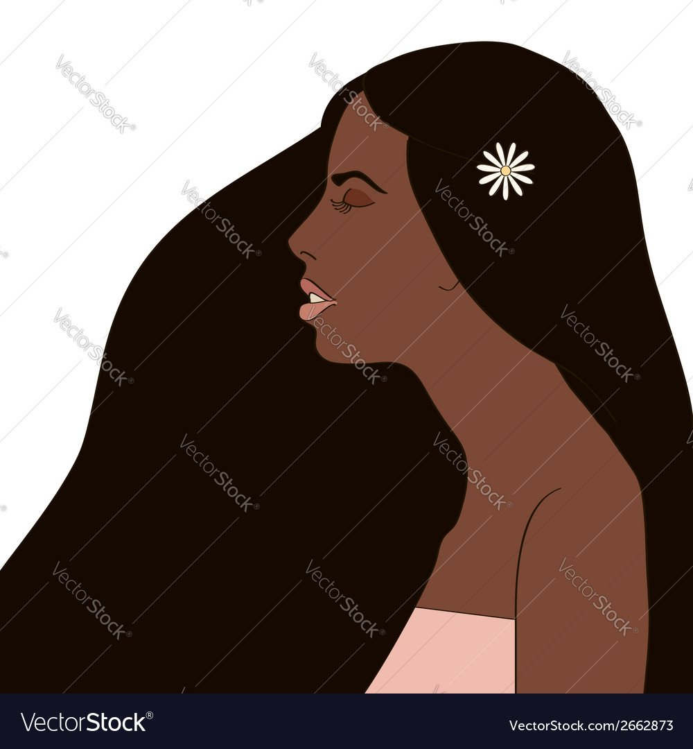 Side view of young african woman vector   Price: 1 Credit (USD $1)