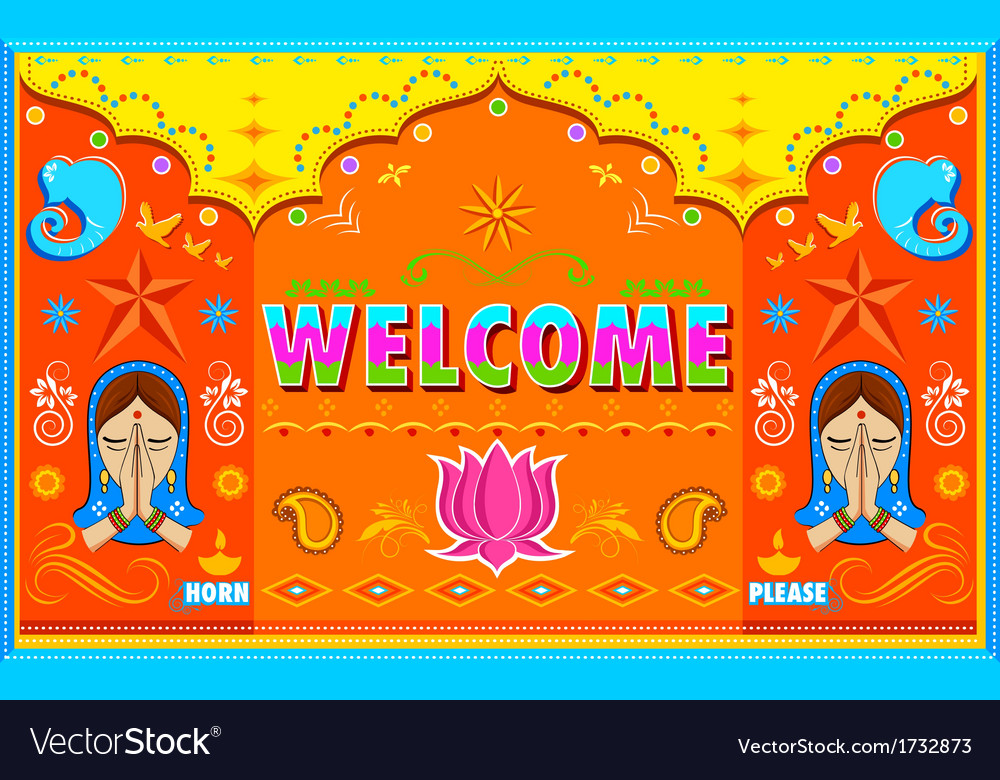 Welcome background in indian truck paint style vector | Price: 1 Credit (USD $1)