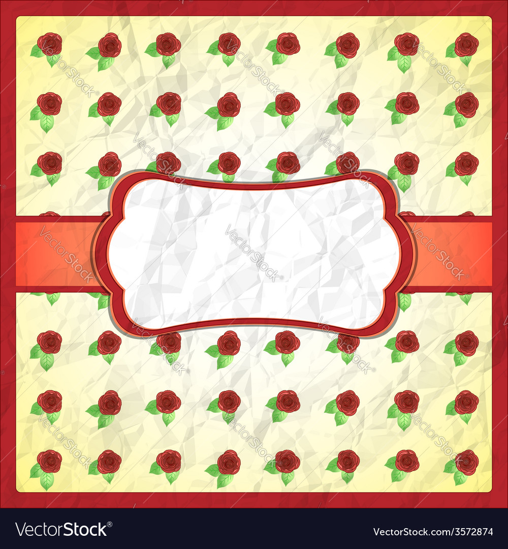 Crumpled lace frame with roses vector | Price: 1 Credit (USD $1)