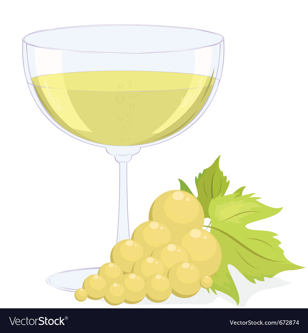 Full glass of white wine and a brush of light grap vector | Price: 1 Credit (USD $1)