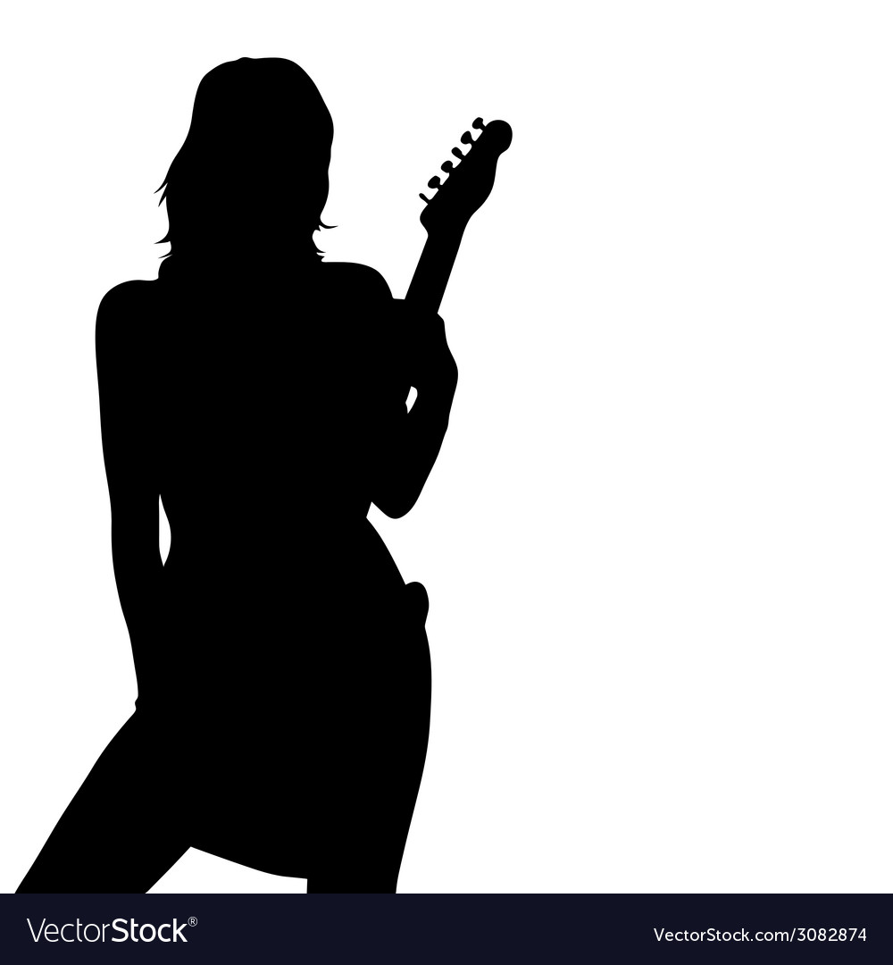 Girl posing with a guitar black silhouette vector | Price: 1 Credit (USD $1)