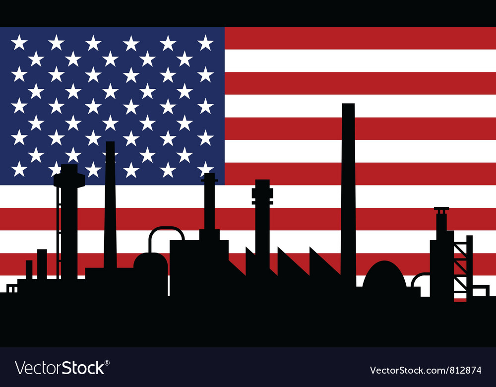 Industry and flag of usa vector | Price: 1 Credit (USD $1)
