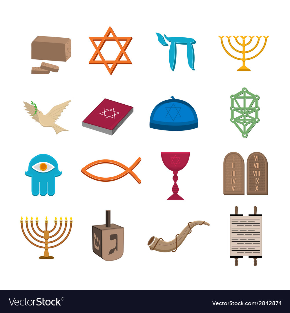 Judaism icons set vector | Price: 1 Credit (USD $1)