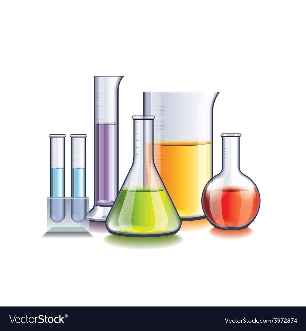 Laboratory with flasks isolated vector | Price: 1 Credit (USD $1)
