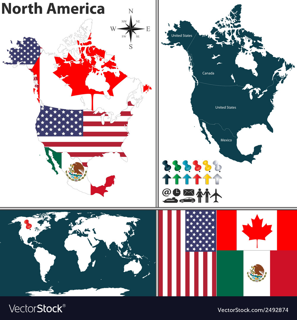 North america map with regions and flags vector | Price: 1 Credit (USD $1)