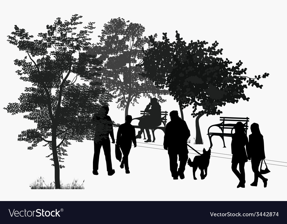 People walk in the park vector | Price: 1 Credit (USD $1)