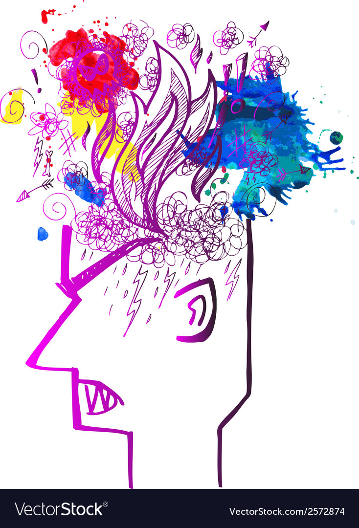 Profile of man full of angry thoughts vector | Price: 1 Credit (USD $1)