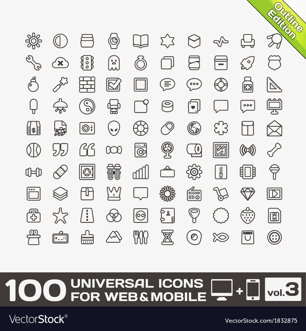 100 universal icons for web and mobile volume 3 vector | Price: 1 Credit (USD $1)