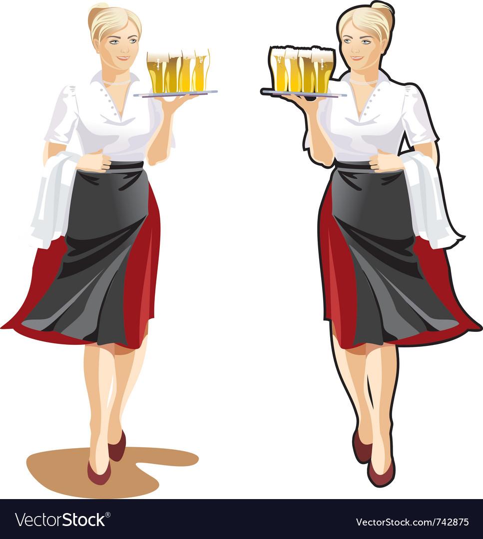Beer waitress vector | Price: 3 Credit (USD $3)
