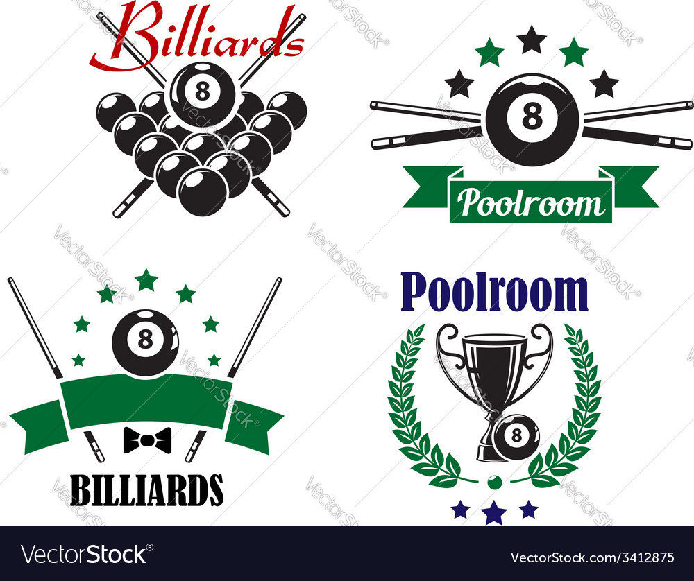 Billiards or poolroom game badges or emblems vector | Price: 1 Credit (USD $1)