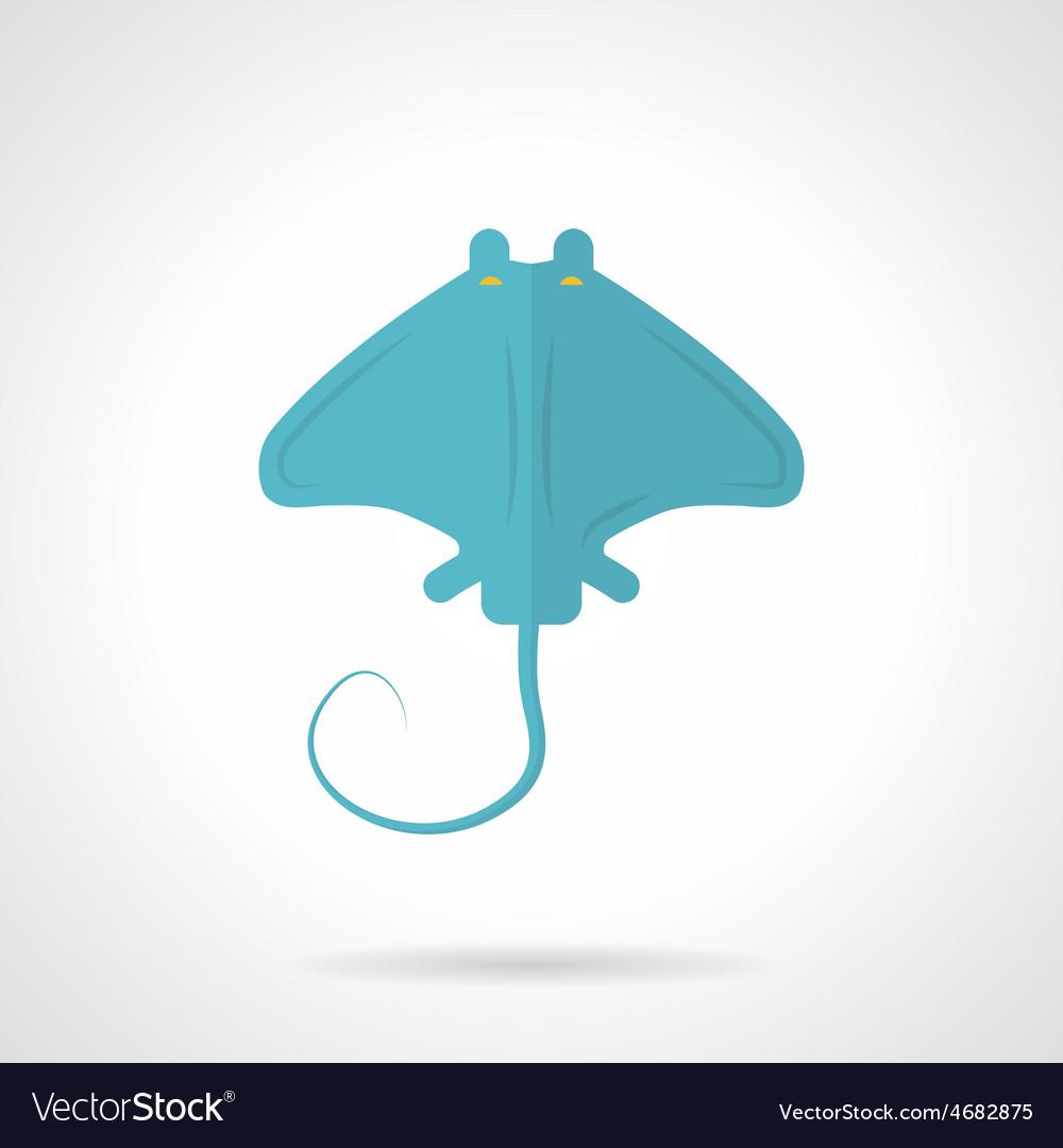 Blue stingray flat icon vector | Price: 1 Credit (USD $1)