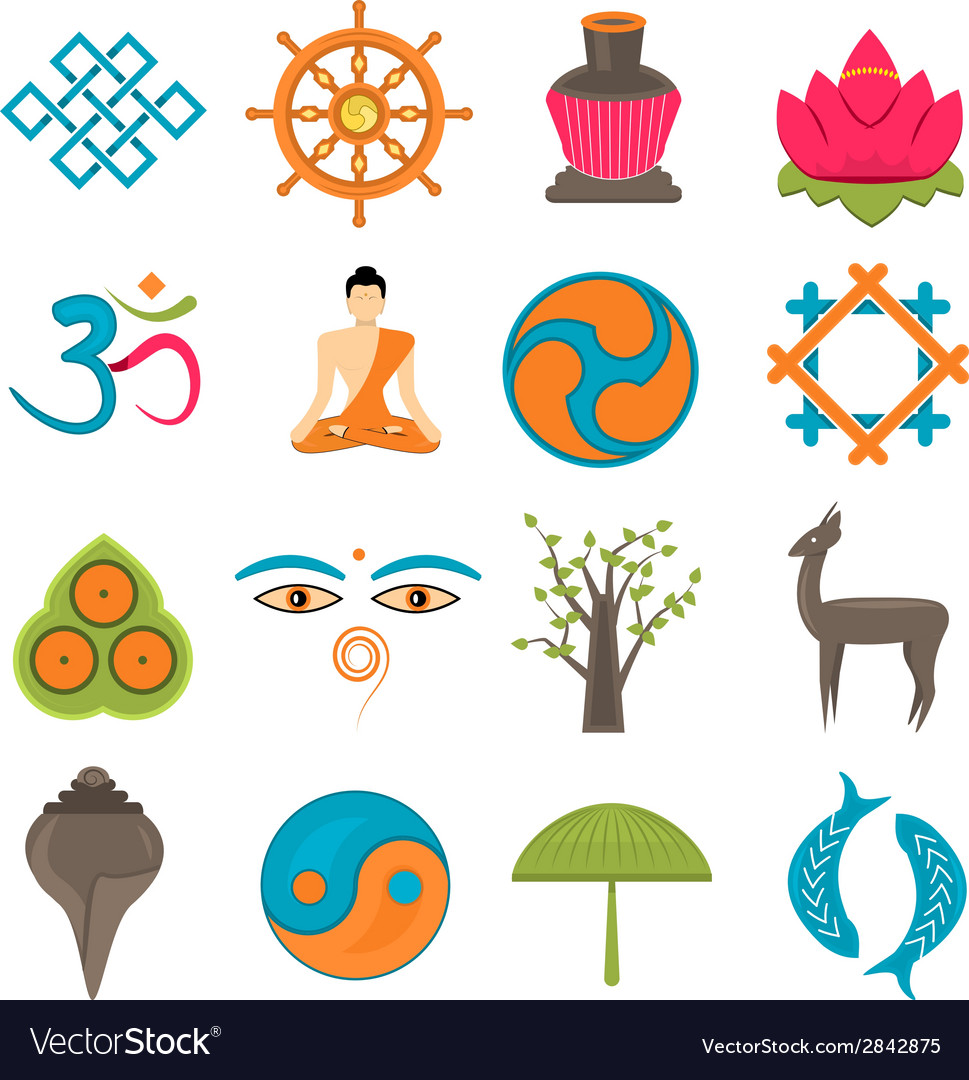 Buddhism icons set vector | Price: 1 Credit (USD $1)