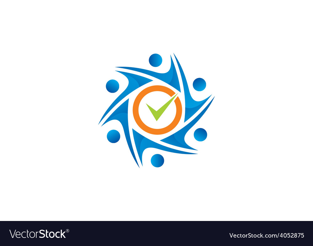 Circle people mark choice group logo vector | Price: 1 Credit (USD $1)