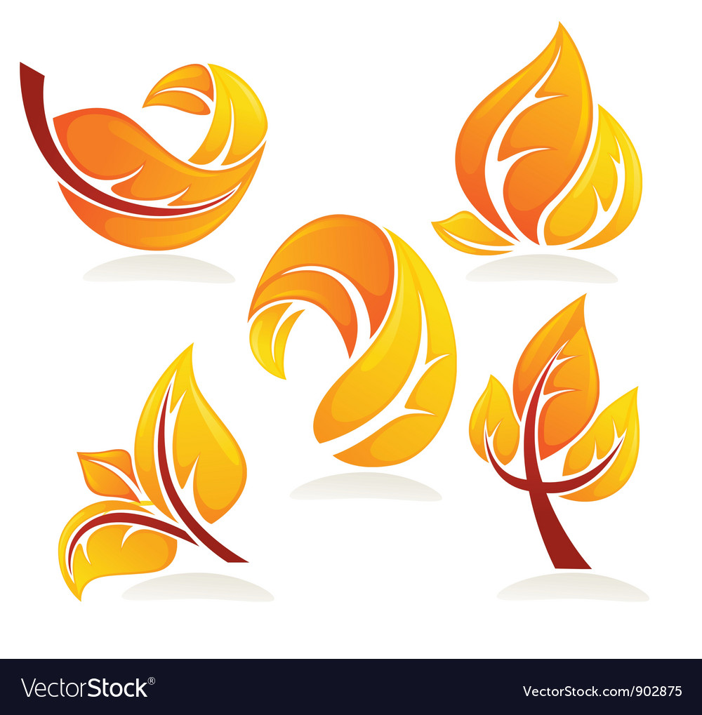 Collection of bright autumn leaves vector | Price: 1 Credit (USD $1)