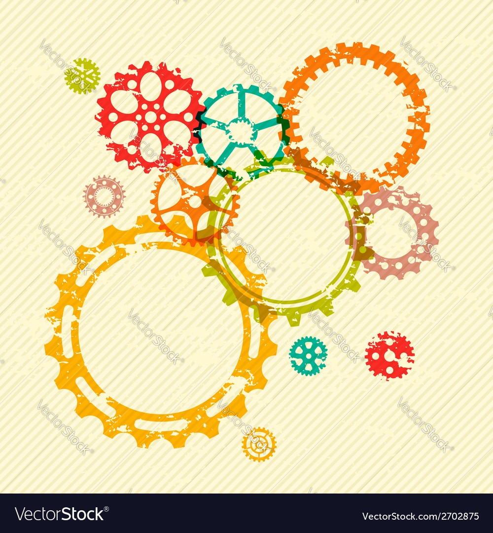 Colorful gears on bright grunge striped background vector | Price: 1 Credit (USD $1)