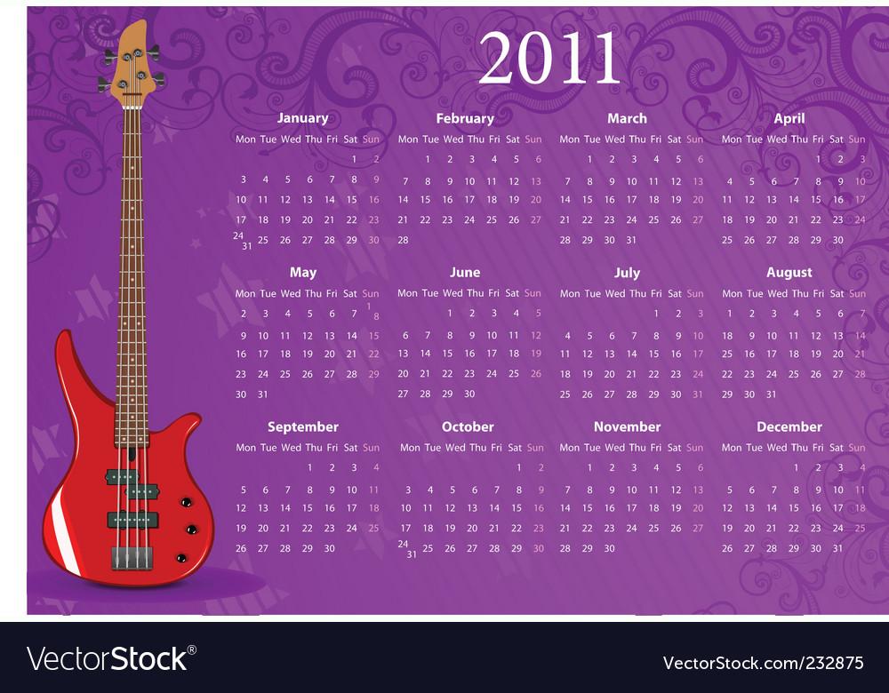 European calendar vector | Price: 1 Credit (USD $1)