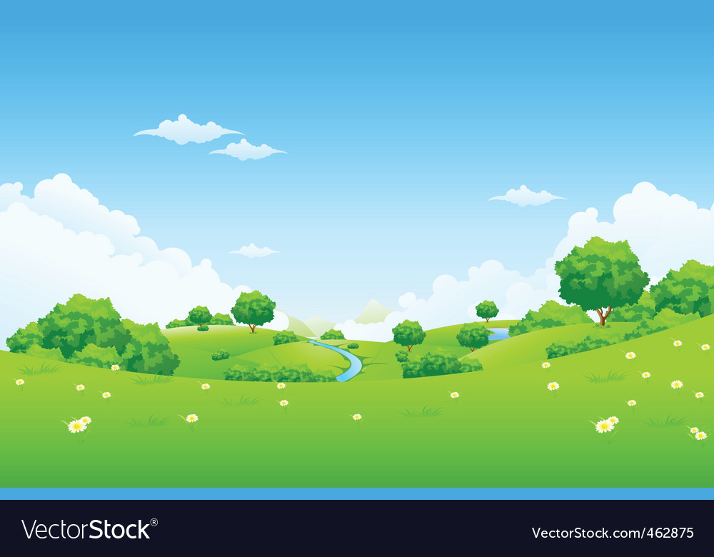 Green landscape with trees vector | Price: 3 Credit (USD $3)
