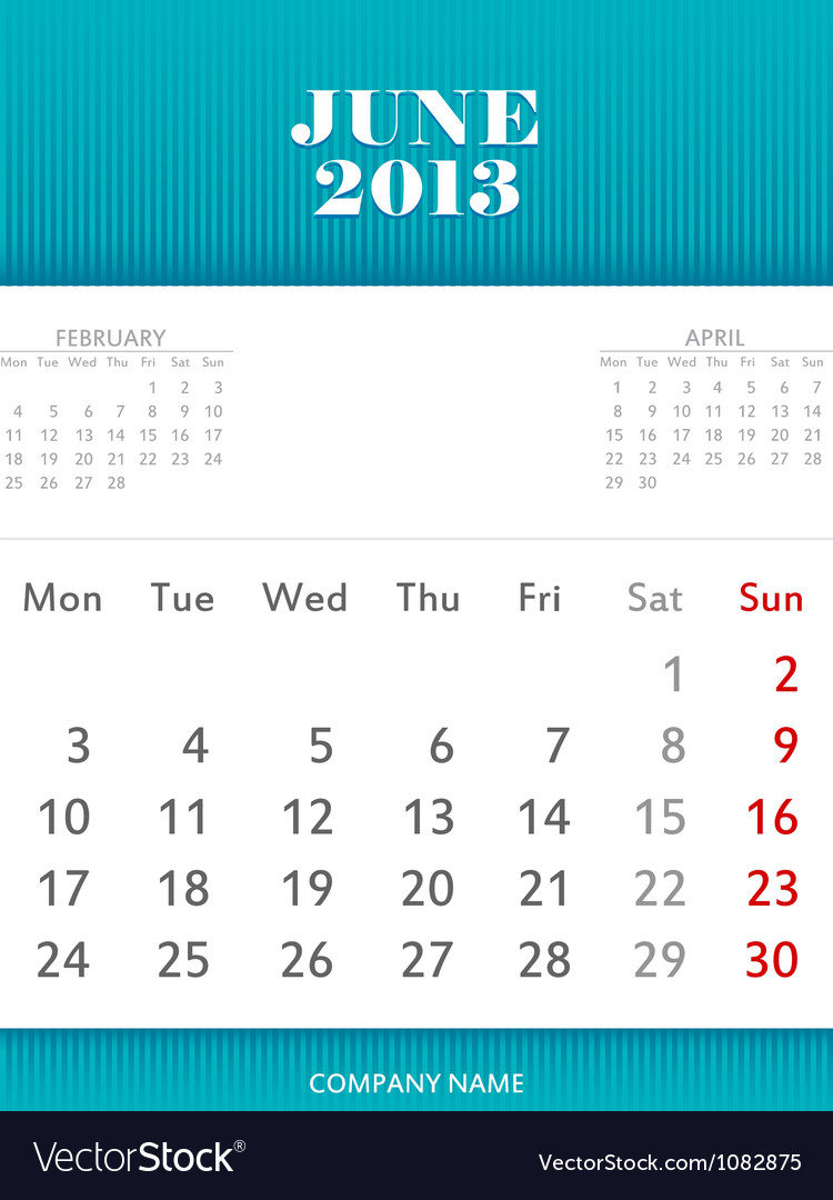 June 2013 calendar design vector | Price: 1 Credit (USD $1)