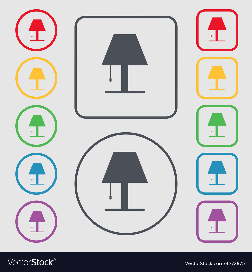 Lamp icon sign symbol on the round and square vector | Price: 1 Credit (USD $1)