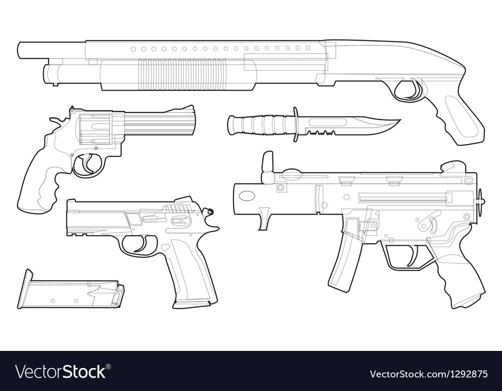 Set of outlined various weapons vector | Price: 1 Credit (USD $1)