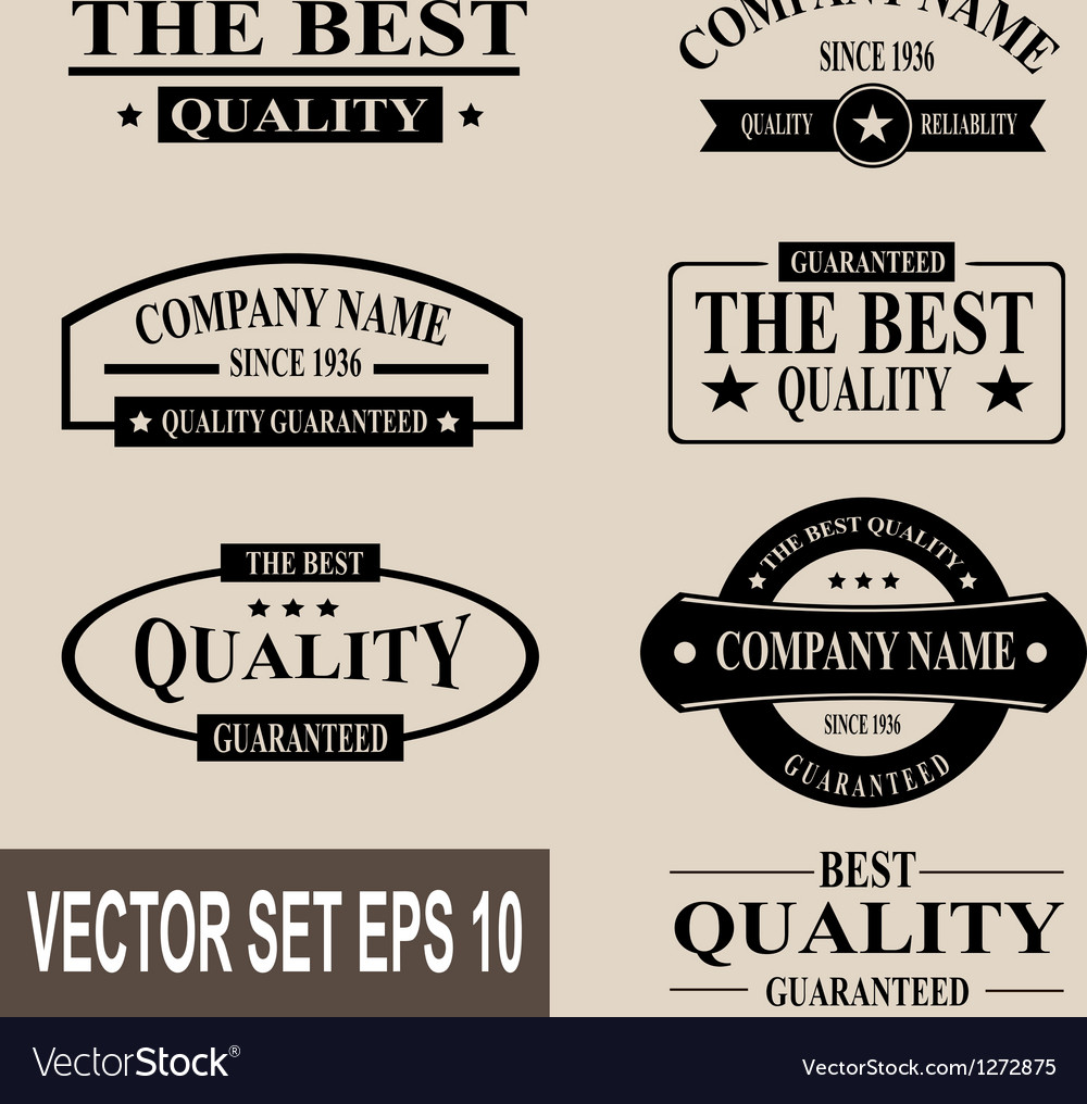 Set of vintage quality garanteed labels vector | Price: 1 Credit (USD $1)