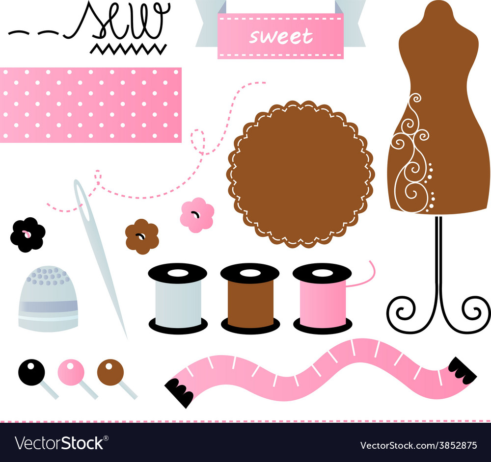 Sewing set isolated on white - pink and brown vector | Price: 1 Credit (USD $1)