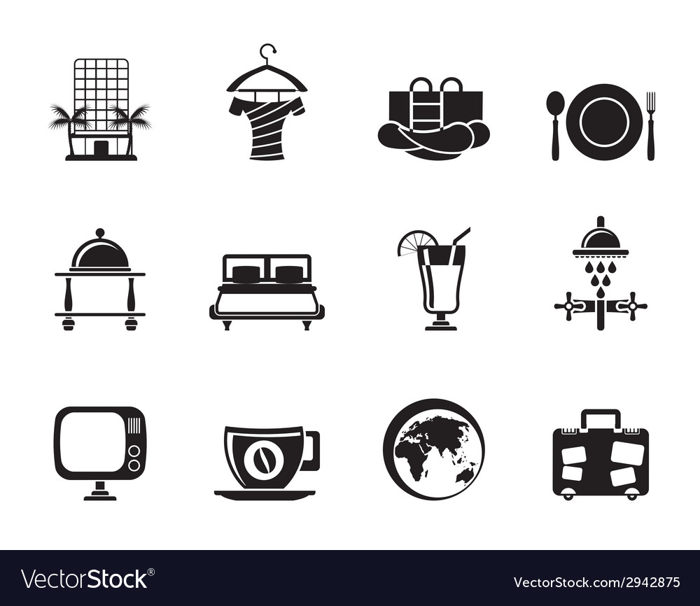 Silhouette hotel and holidays icons vector | Price: 1 Credit (USD $1)