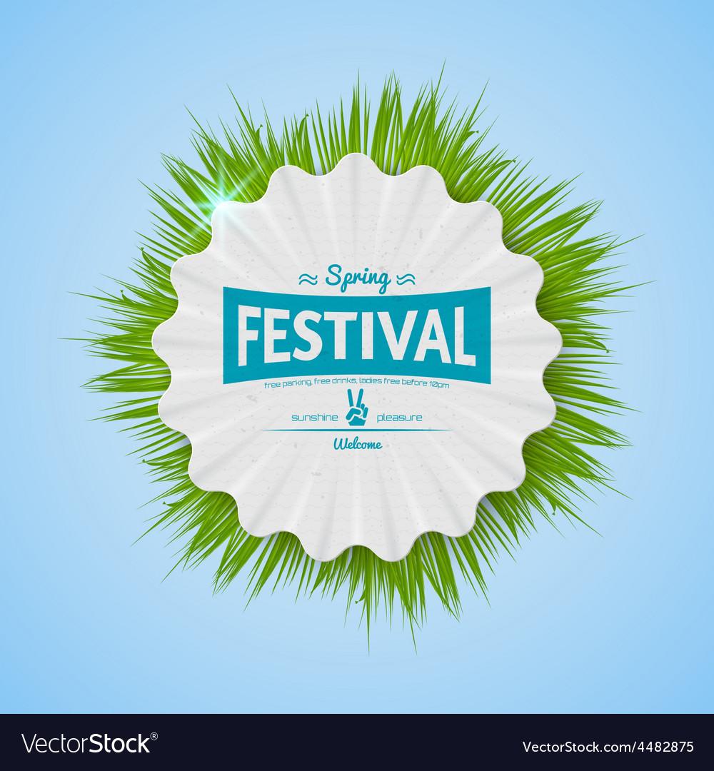 Spring festival realistic badge vector | Price: 1 Credit (USD $1)