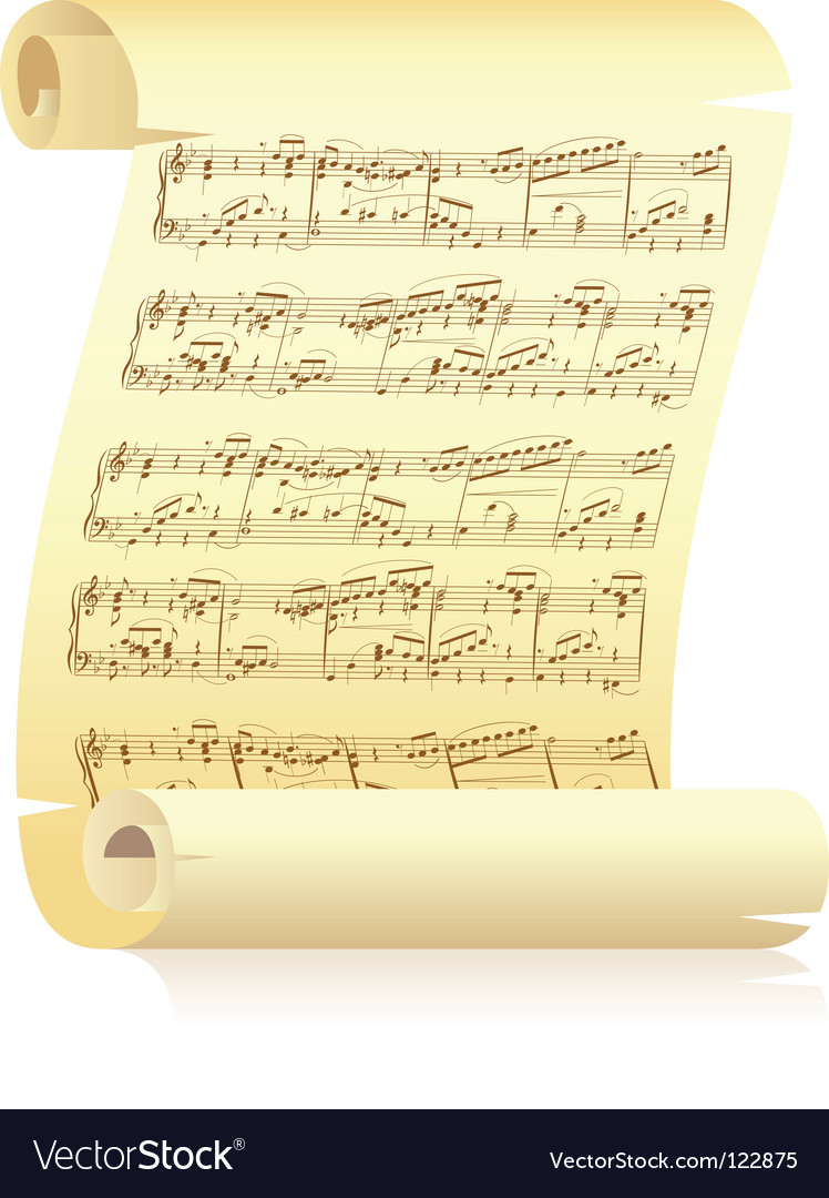Yellow scroll with musical notation vector | Price: 1 Credit (USD $1)