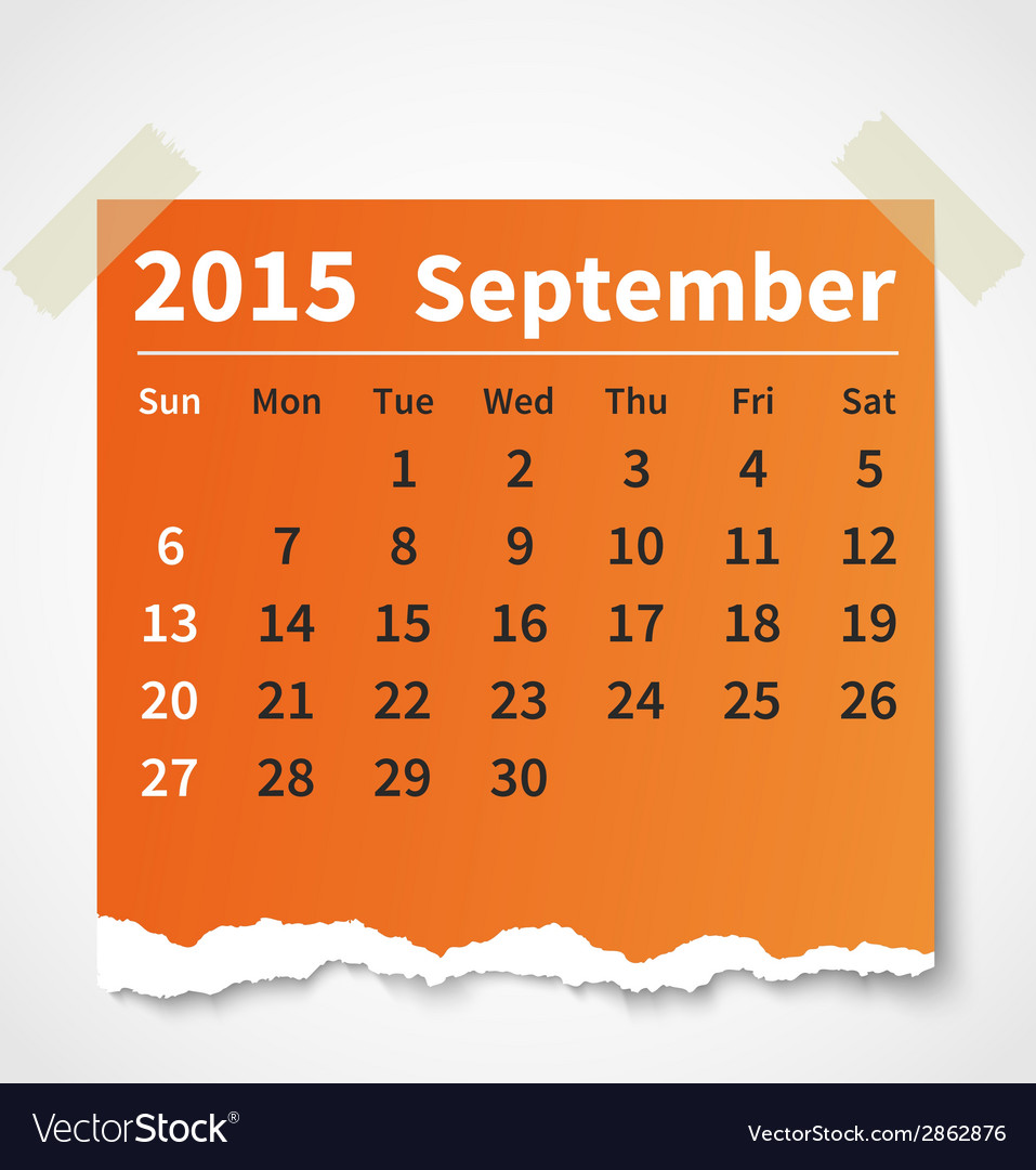 Calendar september 2015 colorful torn paper vector | Price: 1 Credit (USD $1)