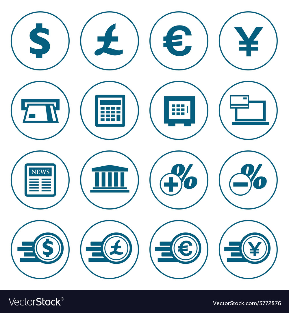 Financial and money icons set vector | Price: 1 Credit (USD $1)