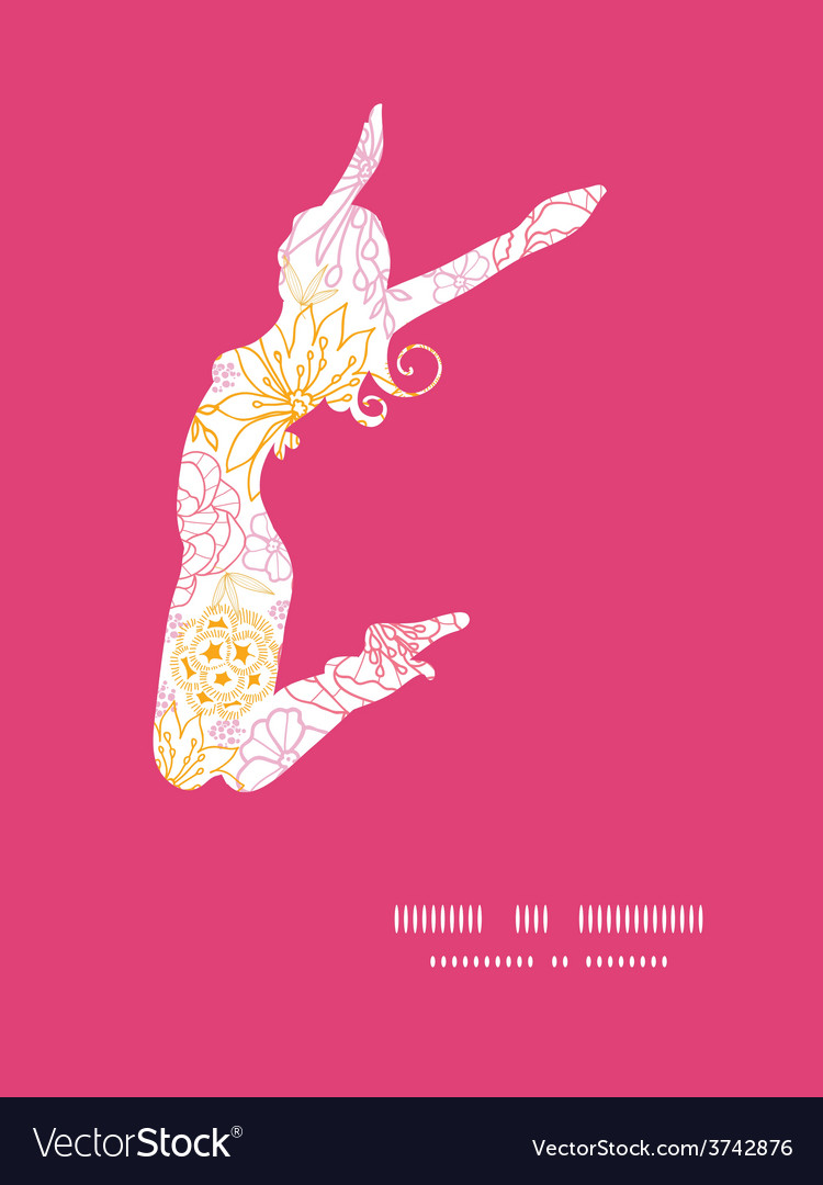 Flowers outlined jumping girl silhouette vector   Price: 1 Credit (USD $1)