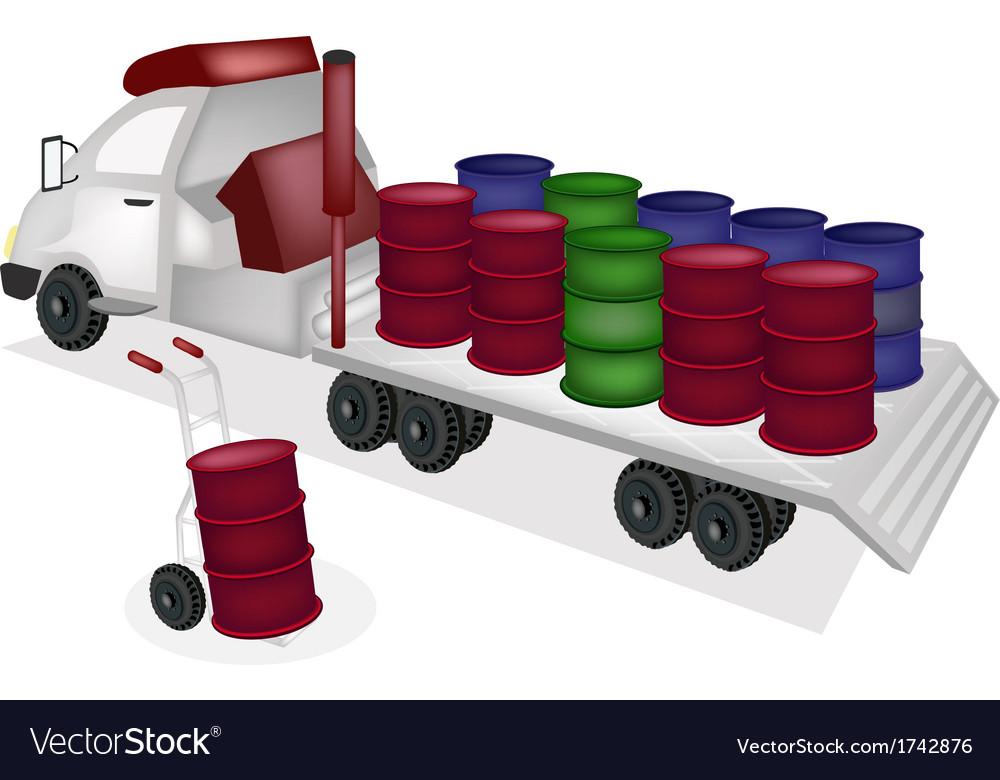 Hand truck loading oil barrels into trailer vector | Price: 1 Credit (USD $1)