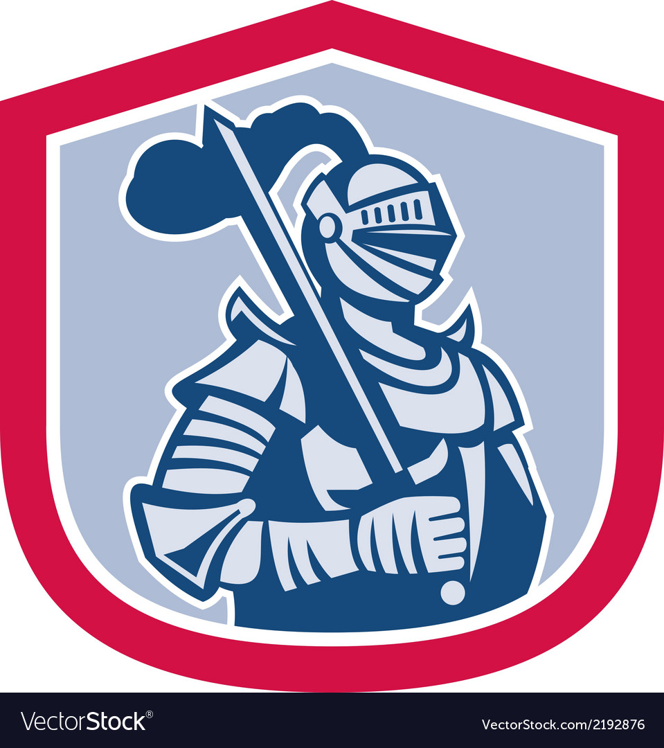 Knight full armor with sword shield retro vector | Price: 1 Credit (USD $1)