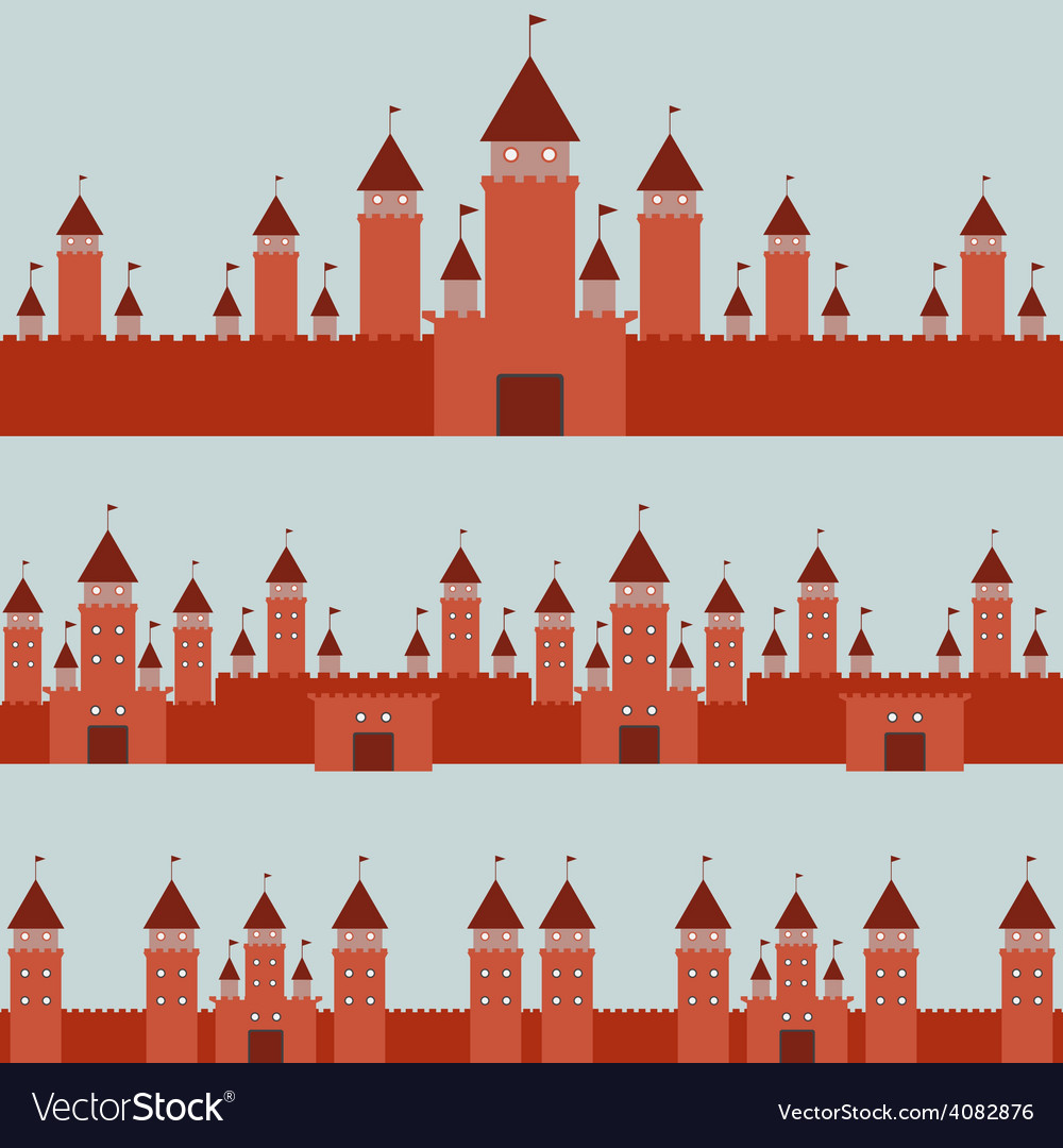 Seamless pattern with castle princess fairytale vector | Price: 1 Credit (USD $1)