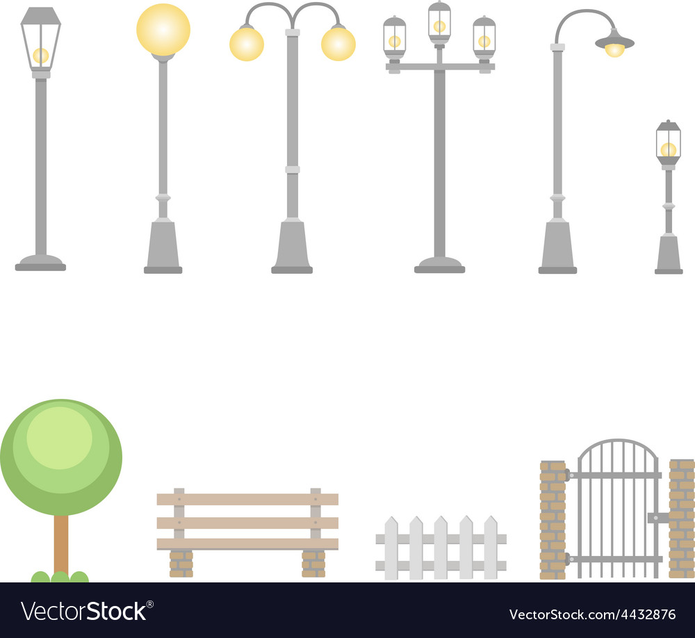 Street lights and lamps set  outdoor elements vector | Price: 1 Credit (USD $1)