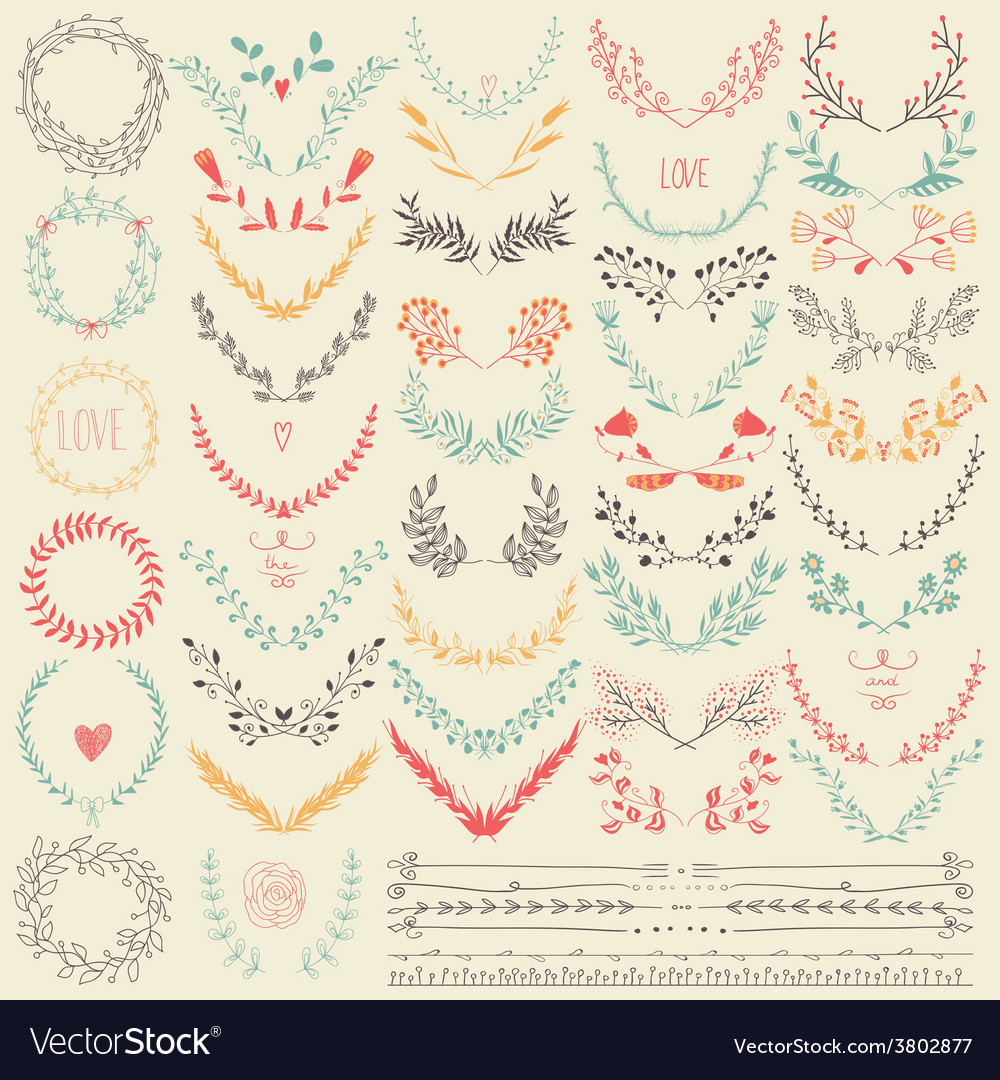 Big collection of hand drawn floral graphic design vector | Price: 1 Credit (USD $1)
