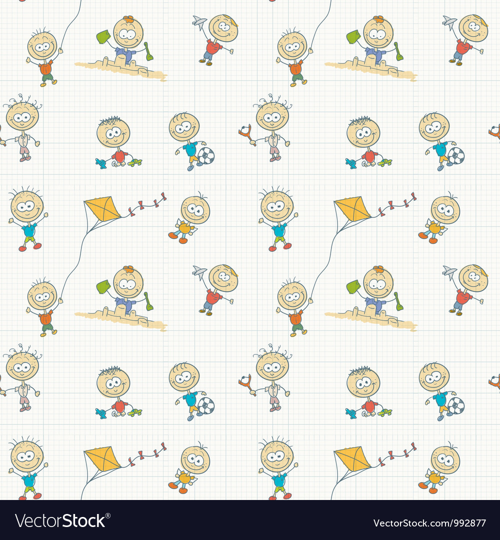 Children play seamless wallpaper vector | Price: 1 Credit (USD $1)