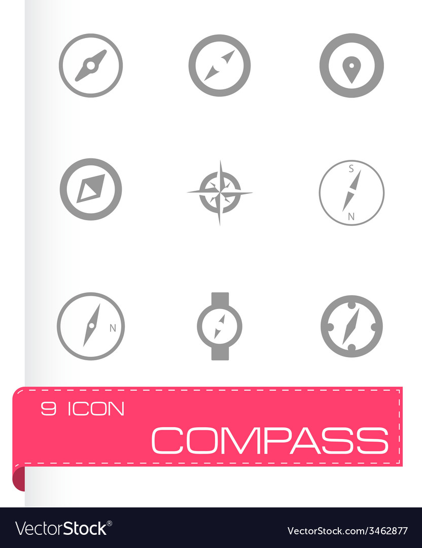 Compass icons set vector | Price: 1 Credit (USD $1)