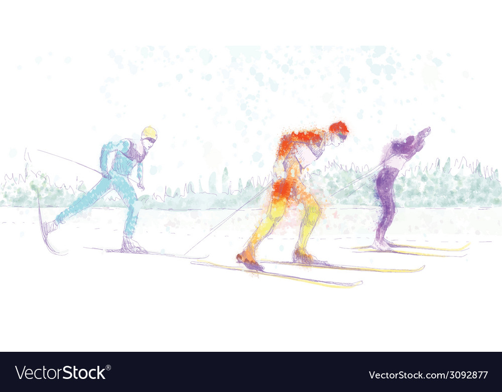 Cross-country skiing vector | Price: 1 Credit (USD $1)