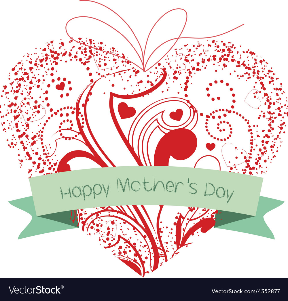 Happy mothers day heart ornament vector | Price: 1 Credit (USD $1)
