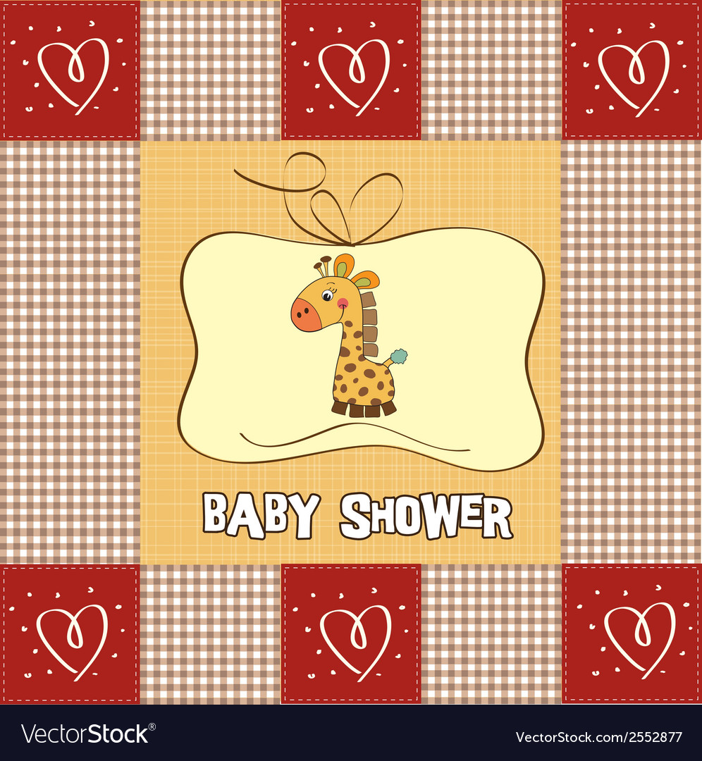New baby announcement card with giraffe vector | Price: 1 Credit (USD $1)