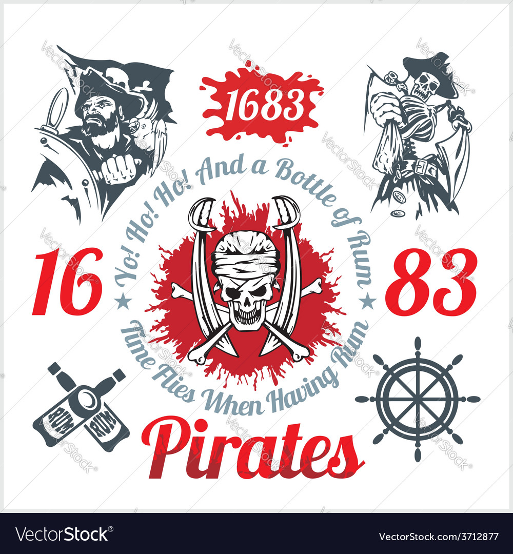 Pirate themed design elements - set vector | Price: 3 Credit (USD $3)