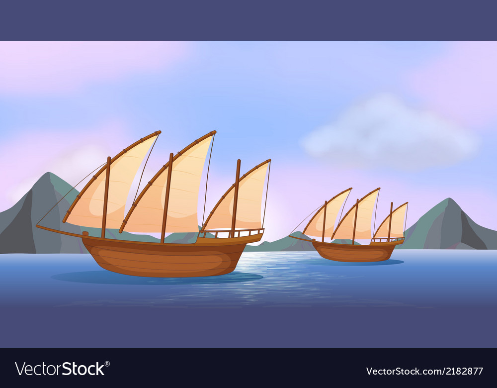 Two wooden ships in the ocean vector | Price: 1 Credit (USD $1)