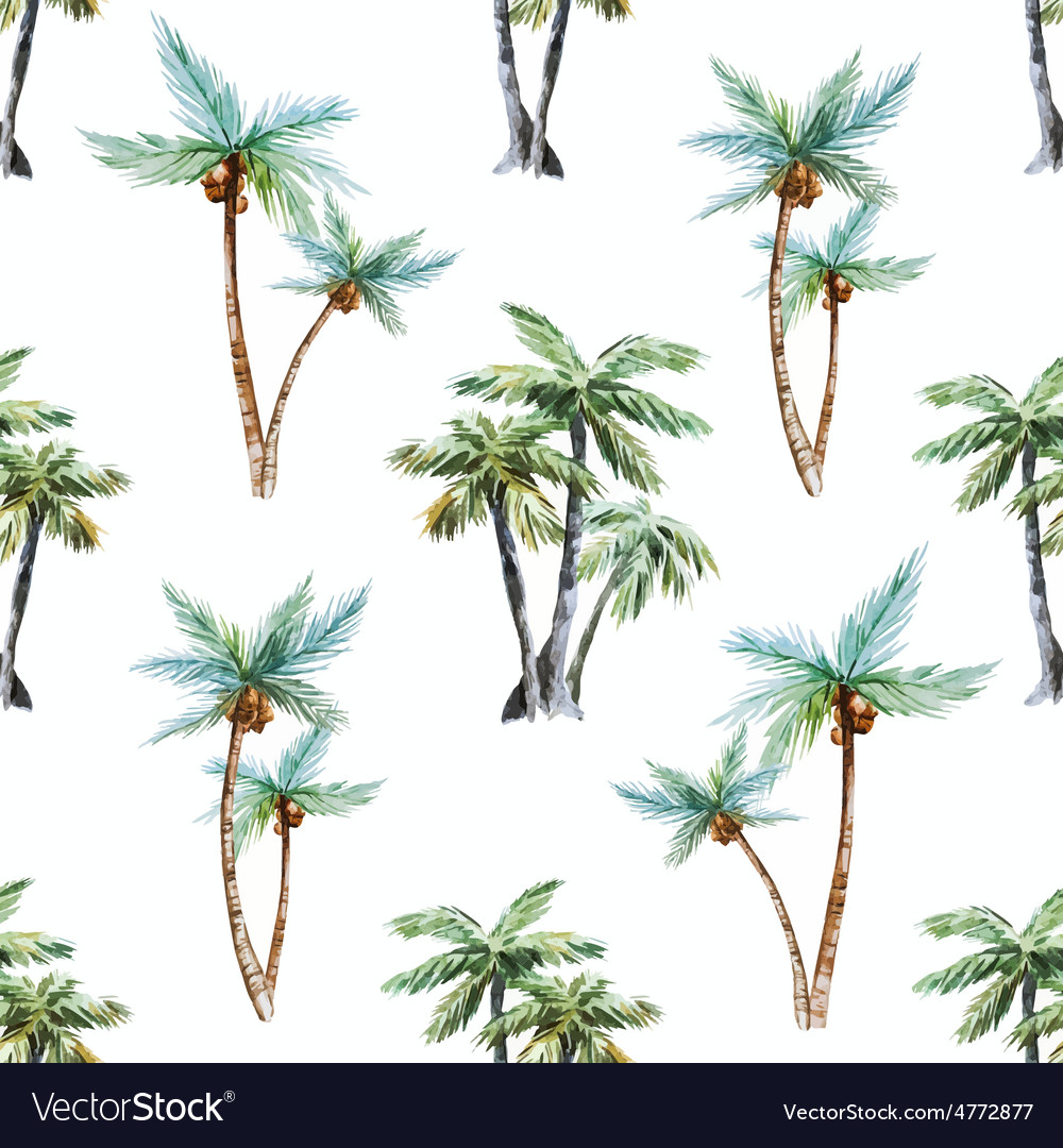 Watercolor palm trees pattern vector | Price: 1 Credit (USD $1)